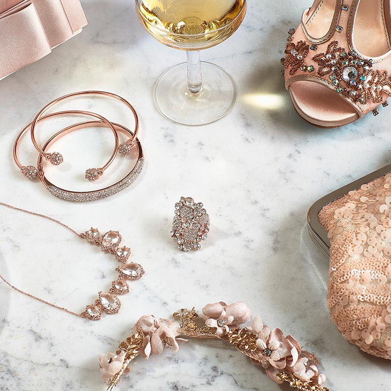 A variety of rose gold jewelry