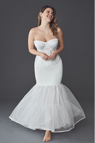 Bride posing in the A-Line Wedding Dress: Solution