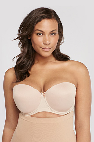 Model Wearing A Colored Strapless Bra Plus Size