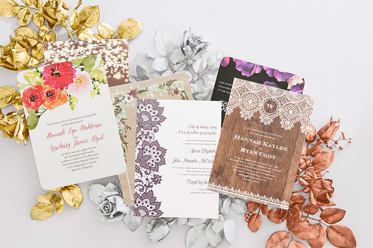 Wedding invitations with foil accents
