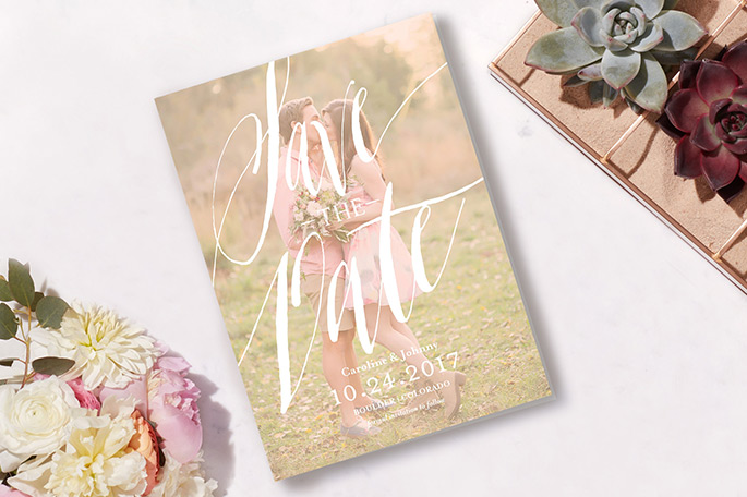 Rustic Save the Date with flowers and perfume