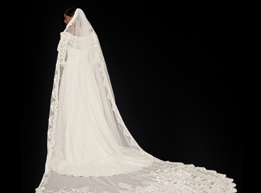 Lace Trimmed Cathedral Veil