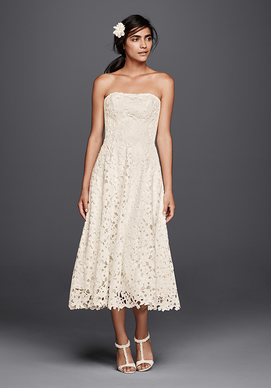 Summer wedding dress styles inspiration davids bridal bride wearing a tea length lace dress junglespirit Choice Image