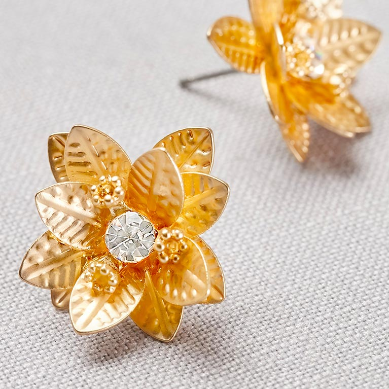 gold anld diamond floral earrings
