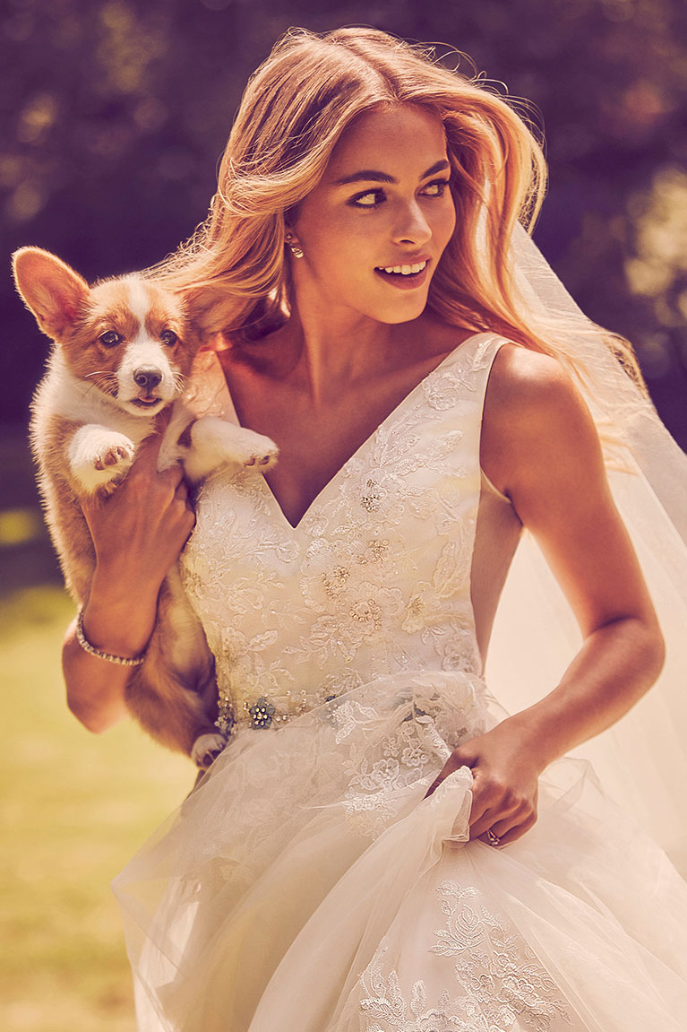 bride in lace dress carrying puppy