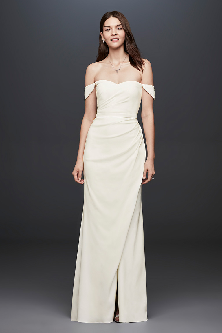 bride in off-the-shoulder sheath gown