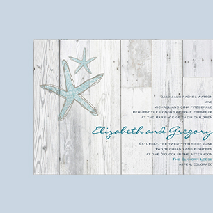 Picture of beach themed wedding invitations