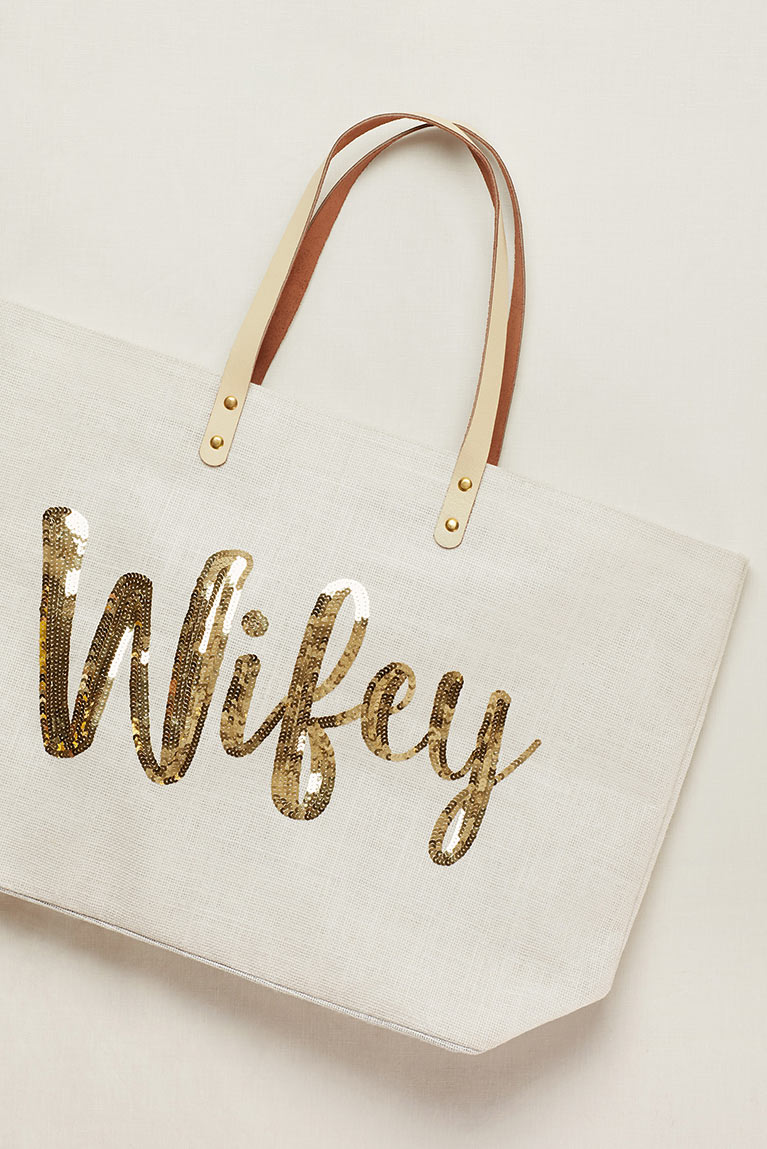 Canvas tote with 'Wifey' written in gold sequins