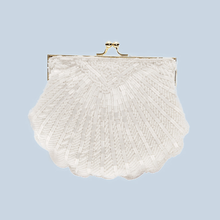 Picture of a seashell shaped clutch bag