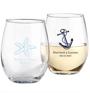 Stemless wine glasses with custom designs