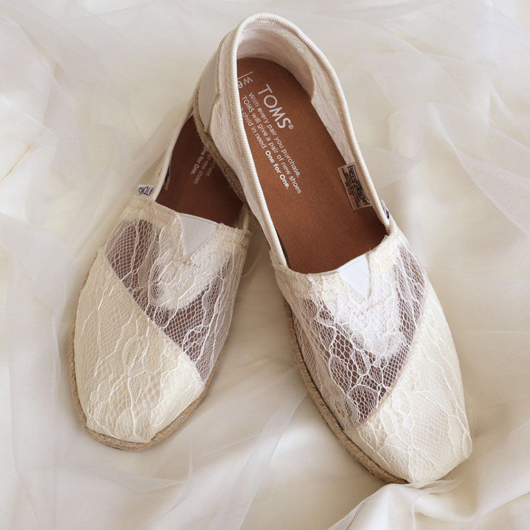 TOMS lace wedding shoes