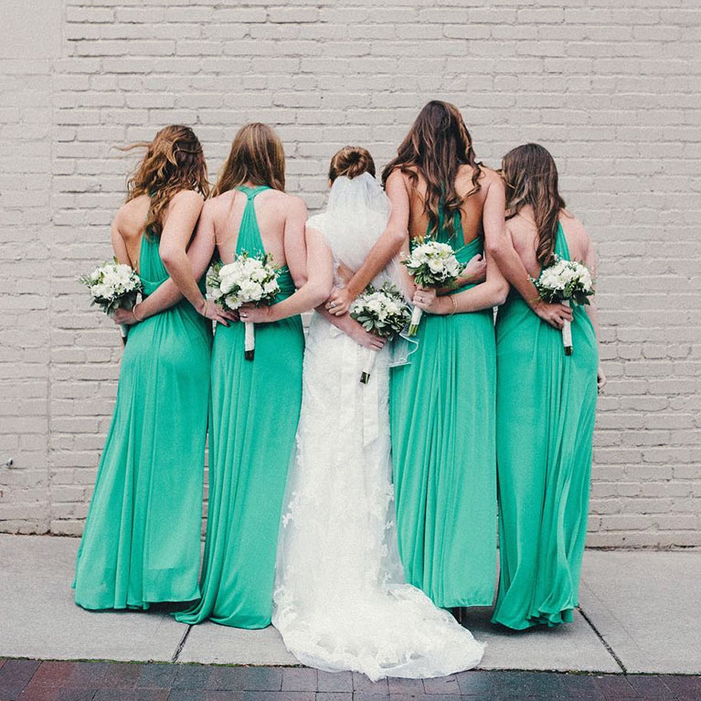 Back view of bride and bridesmaids