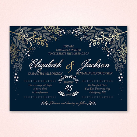 Navy blue invitations with cream and yellow font design