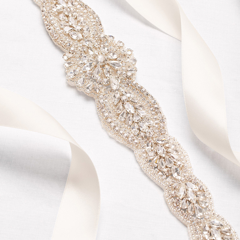 Crystal sash for wedding gown.