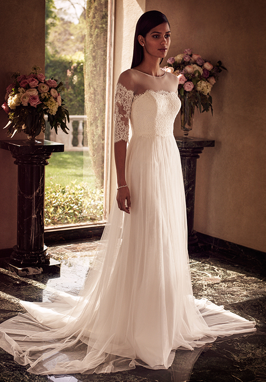 White wedding dress with lace sleeves