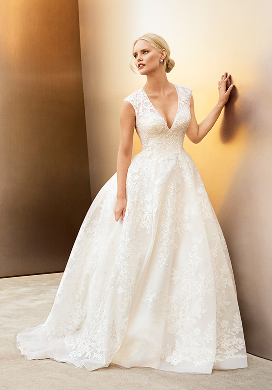 Woman in deep v-neck cap sleeve wedding gown