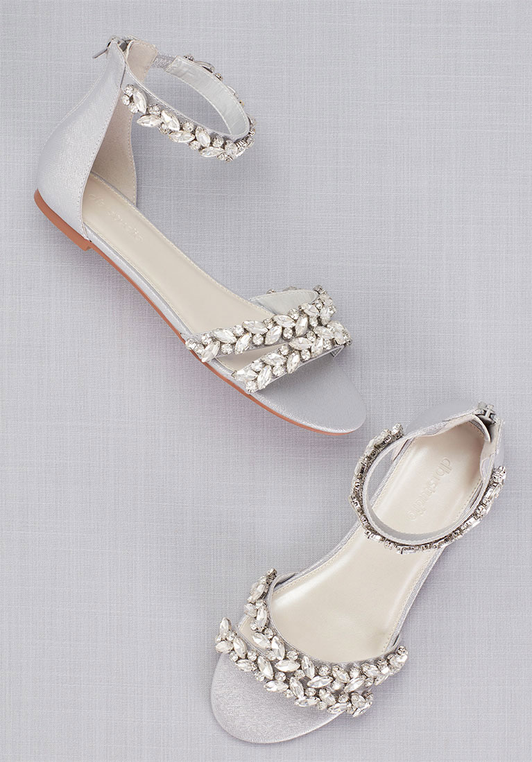 Silver Bejeweled Sandals For A Wedding