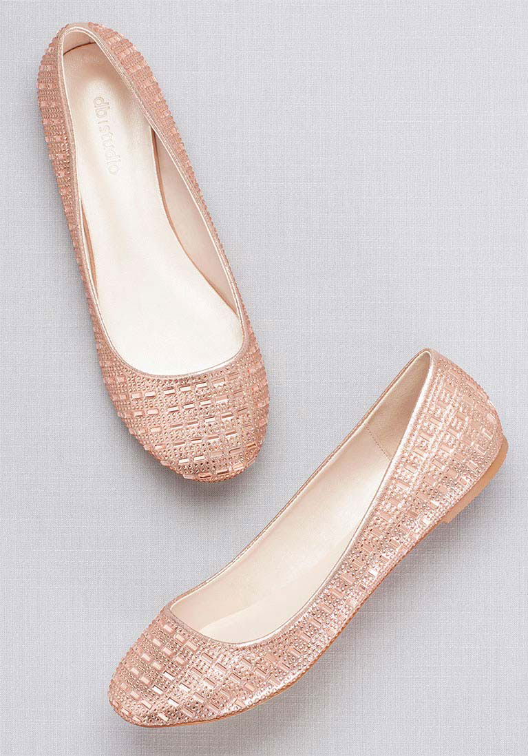 255e8f2deb9 Rose gold ballet flats for a wedding.