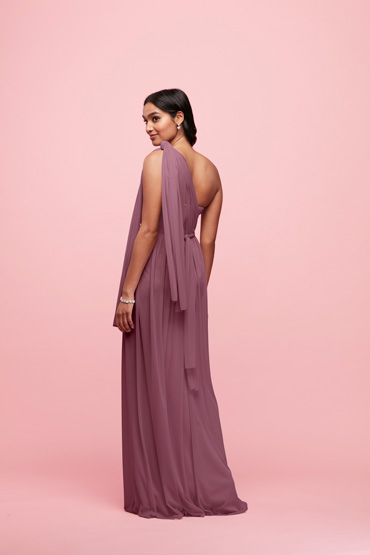 88ab9660598 Side view of Chianti long convertible bridesmaid dress tied in Grecian style