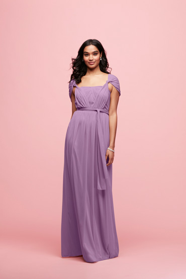 Wisteria  long convertible bridesmaid dress tied in cap sleeve style