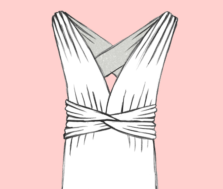 Sketch of Cross Back Convertible Bridesmaid Dress