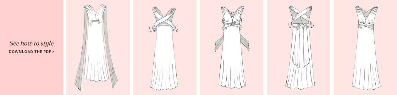 Cross Back Convertible Bridesmaid Dress Steps