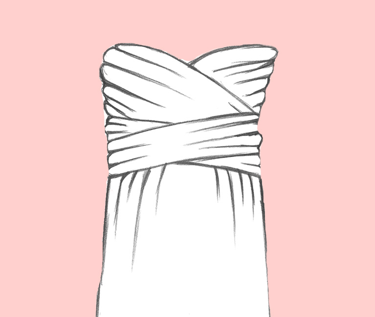 Sketch of Strapless Convertible Bridesmaid Dress
