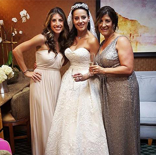 A Bridesmaid in Jersey Versa in Ivory with a Bride and a Mother of the Bride