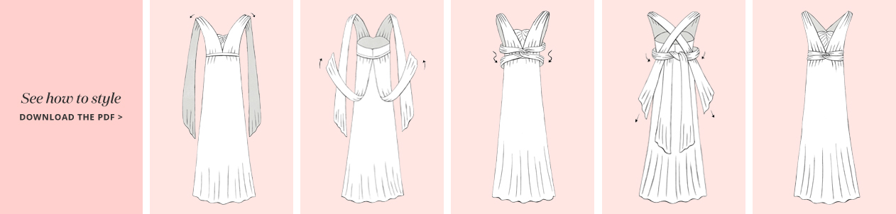 llustation of the Cross Back Convertible Bridesmaid Dress concept