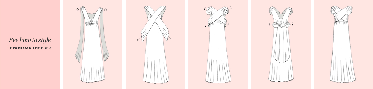 Illustration of Cross Front Convertible Bridesmaid Dress Concept