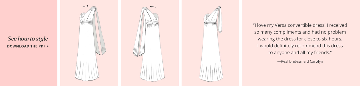 Illustration of the One Shoulder Convertible Bridesmaid Dress Concept