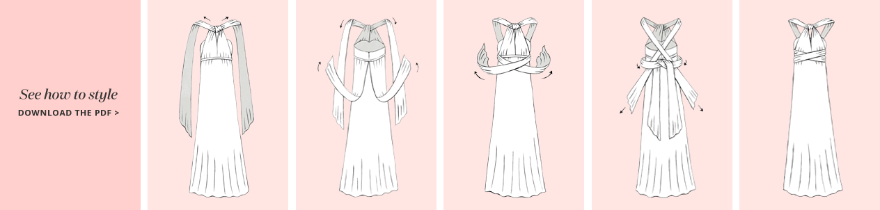 Illustration of the Y Neck Convertible Bridesmaid Dress Concept