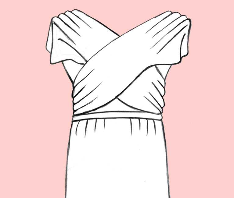 Illustration of the Cross Front Convertible Bridesmaid Dress