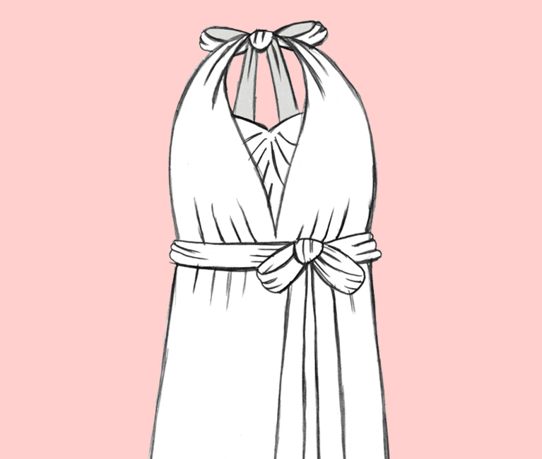 Illustration of the Twisted Halter Convertible Bridesmaid Dress