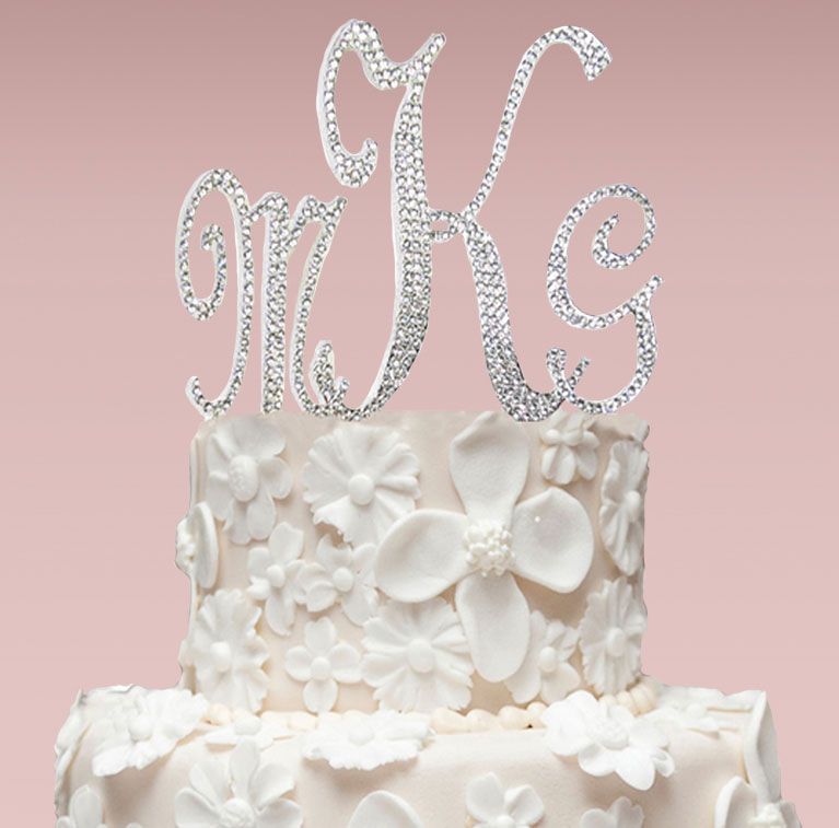 silver monogrammed cake topper