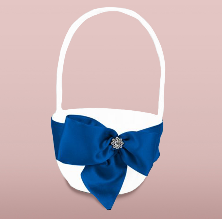 white flower girl basket with blue ribbon