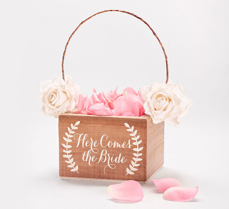 wooden flower girl basket that says 'Here Comes the Bride'