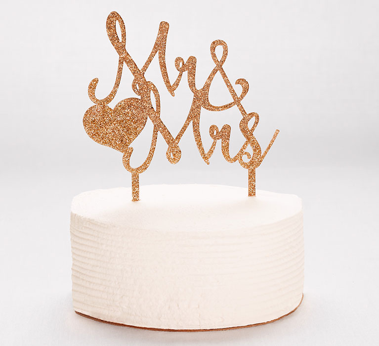 gold Mr. & Mrs. cake topper