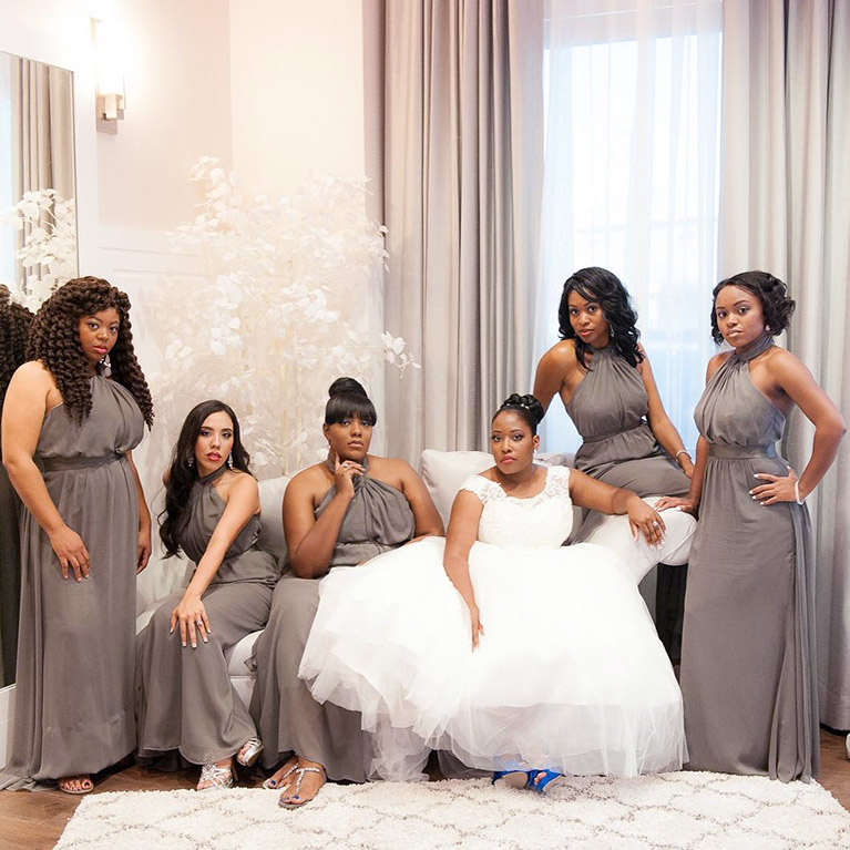 Bride and five bridesmaids all doning different hairstyles