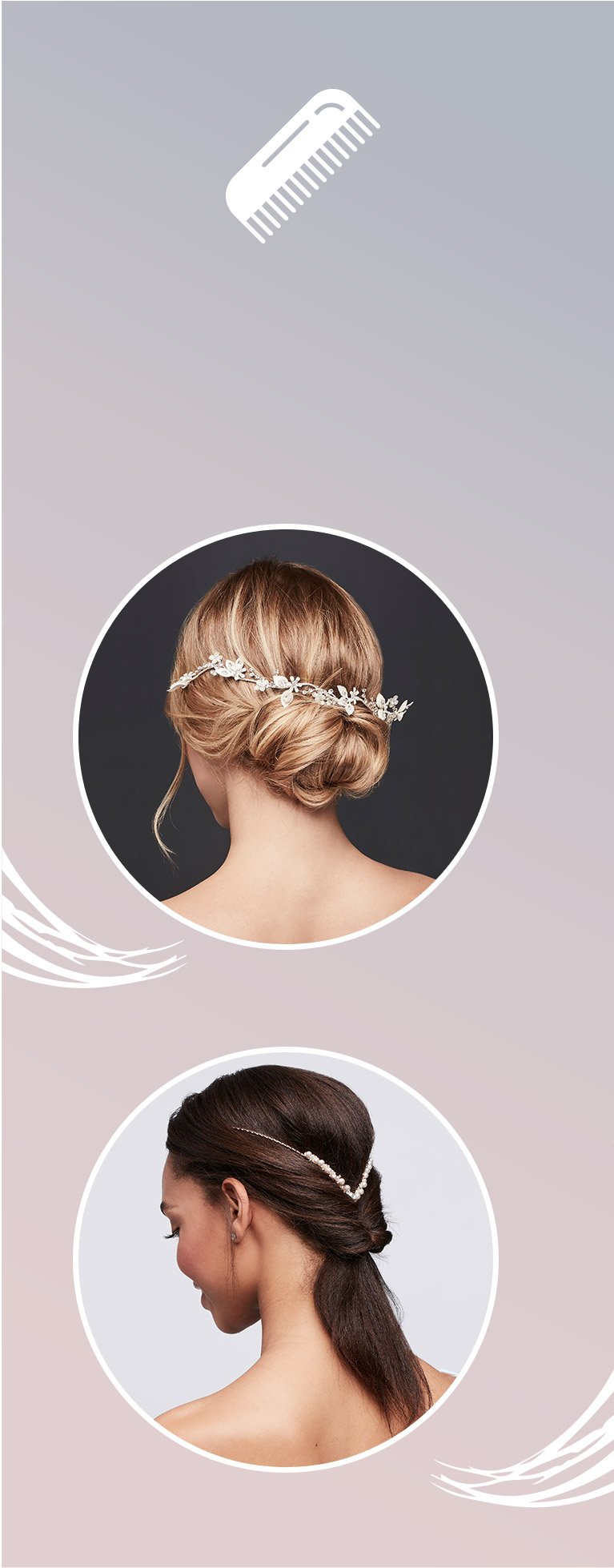 brides wearing jeweled hair clip