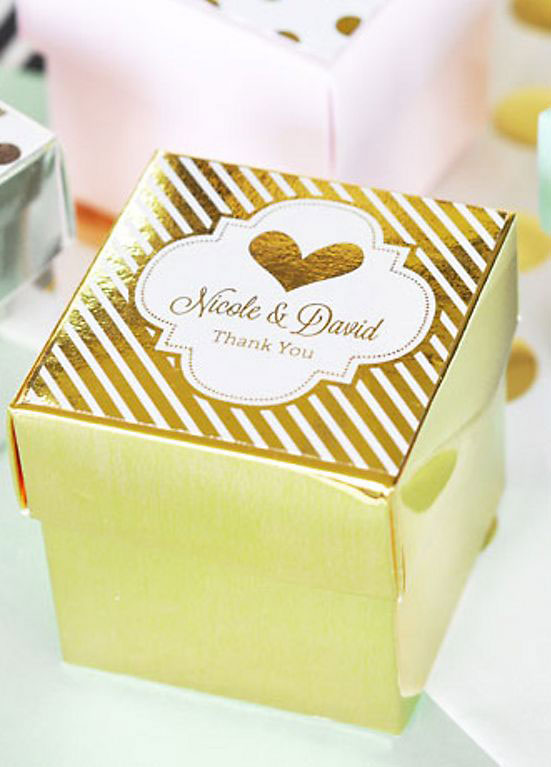 White and Gold Box Favor Container