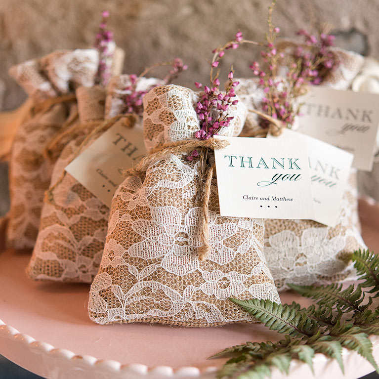 Unique wedding favor ideas davids bridal burlap and lace wedding favor bags junglespirit Gallery