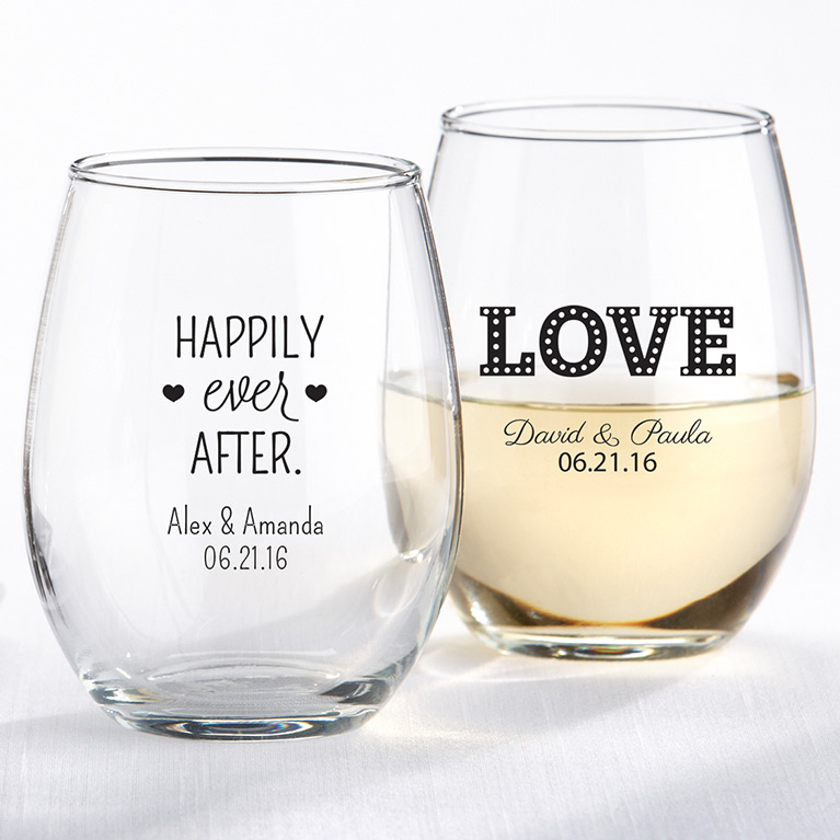 Personalized Stemless Wine Glasses with Wedding Dates