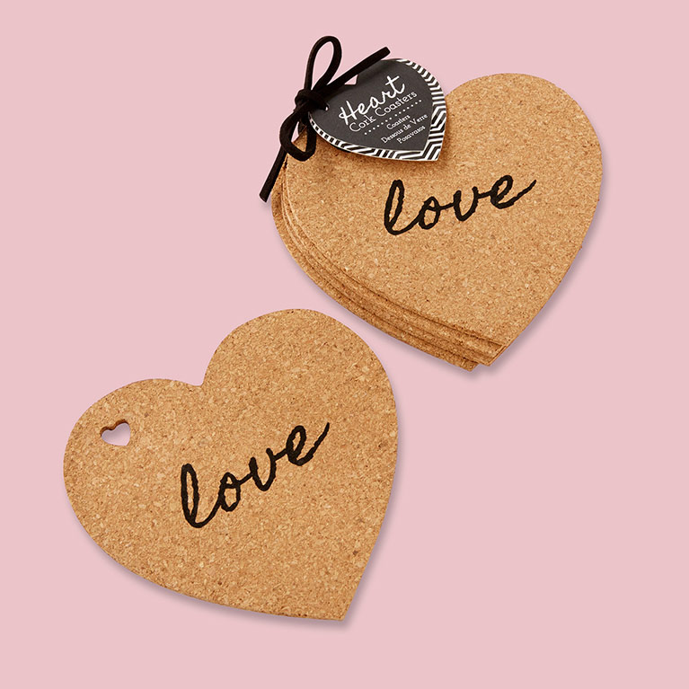 Heart Shaped Cork Coaster With Love