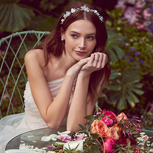 Bride wearing floral crown headpiece