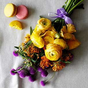 Summer flowers in yellow, purple and orange