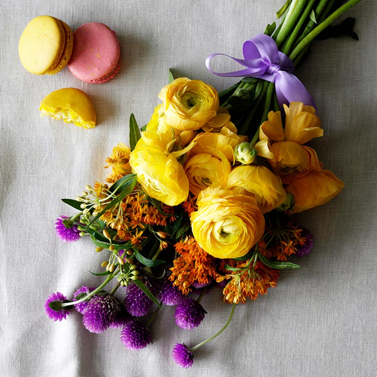 Wedding bridesmaid bouquet flower ideas davids bridal summer flowers in yellow purple and orange mightylinksfo