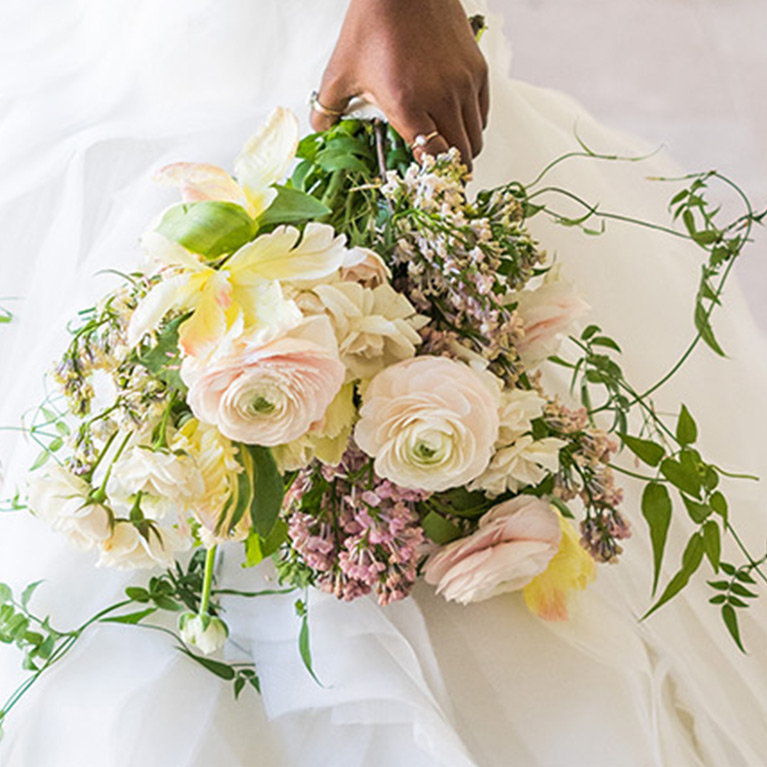 Jasmine and wildflower wedding bouquet for brides