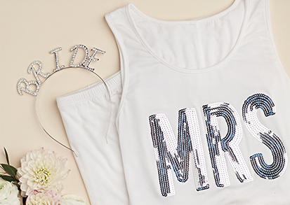 Bride to Be Gift Guide Ideas on the Blog - 'Bride' headband, MRS tank top.