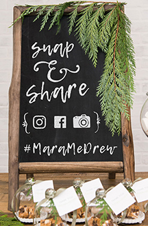 Snap & Share with hashtag #MaraMeDrew on chalkboard